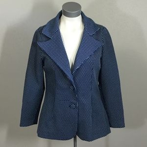 Vintage Blazer - Blue and white double knit dots
